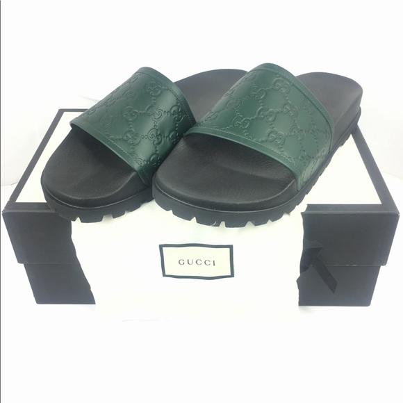 1918ba0a4c3 Gucci GG Guccissima Green Men s Slide Sandals